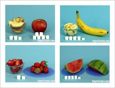 How much SUGAR is in your favorite Fruits-See more Categories showing lots of different foods
