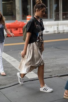 Silver pleated skirt.  THE STREETS mag - www.thestreetsmag.com