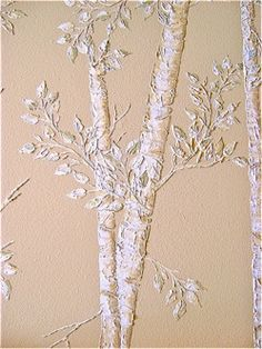 Love this 3D raised wall art trees done with a stencil and caulk!