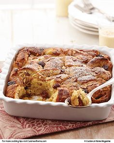 Eggnog Bread Pudding | Cuisine at home eRecipes  -  my husband would love this!
