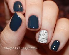navy blue with news paper accent nail