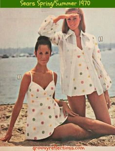 White bathing fashion with a pop of color! Sears Spring Summer 1970 catalog.