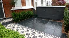 Bespoke Front Garden Bike Store Paving Slate Patio Front Metal Wrought Iron Rail And Victorian Mosaic Tile Path Yellow Brick Garden Wall Wimbledon London - London Garden Design Victorian Front Garden, Victorian Terrace, Victorian House, Brick Garden, Garden Paving, Garden Path, Victorian Mosaic Tile, Slate Paving, Slate Tiles