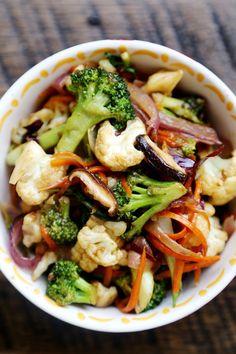 Vegetable StirFry with Carrots, Broccoli, Cauliflower, Bok choy , Red Onions & Shitake Mushrooms...