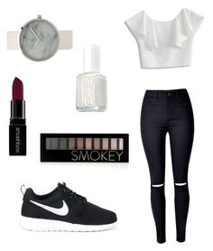 """Black and white style ⚪️⚫️"" by bouferma-rim ❤ liked on Polyvore featuring WithChic, Chicwish, NIKE, Smashbox, Essie and Forever 21"