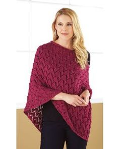 Mary Maxim - Cabled V Poncho - Sm/Med - Ponchos - Fashion Accessories - Knit & Crochet Prayer Shawl Patterns, Poncho Knitting Patterns, Knitted Poncho, Crochet Patterns, Knitting Ideas, Puffer Vest Outfit, Vest Outfits, Crochet Scarves, Crochet Clothes