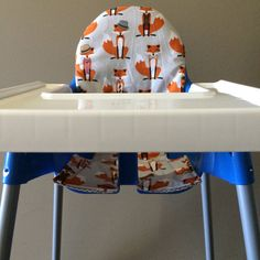 Ikea Antilop high chair cover. Cotton. Orange foxes and grey chevron. Reversible fox Ikea high chair Antilop cover by Avie and Mabel.