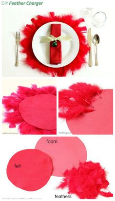 Make your own #festive #feather chargers to sit underneath #dinner plates.