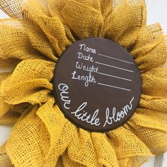 Fantastic baby time detail are offered on our site. Check it out and you wont be sorry you did. Sunflower Nursery, Sunflower Baby Showers, Girl Nursery, Nursery Decor, Yellow Nursery, Baby Yellow, Faire Part Photo, Baby Door Hangers, Hospital Door Hangers