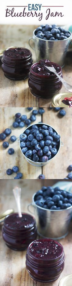 Easy Blueberry Jam Recipe ~ Says: Say good-bye to store-bought jam loaded with preservatives and sugars. You are going to be amazed at how quickly this jam comes together, and how thick it gets.  #jam #blueberryjam #easyjam