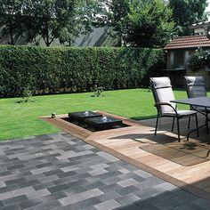 Belpasso Premio Pflaster und Platten für Garten und Haus, kleine Inseln mit Holzbelag