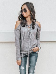 f08aa4182ea Mattie Lace-Up Cold Shoulder Sweater