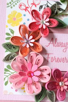 Handmade Pink Greeting Paper Quilling Card by FromQuillingWithLove
