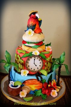 Cake Decorated With Parrot Image