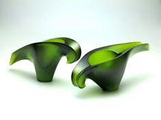 Kakariki bowls by Mike Crawford 2015 (cast olive Gaffer glass )