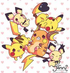 Pikachu family (ノ)'w`(ヾ) . . . #pichu #pikachu #raichu #pokemon #pikachufamily #chibi #jenniilustrations #jennillustrations