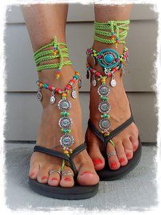 BIKINI Daisy barfuss Sandalen grün Ibiza Sommer Toe von GPyoga