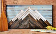 Reclaimed Wood Wall Art, Wood Art, Woodworking Crafts, Woodworking Plans, Mosaic Art, Mosaics, Mountain Art, Wood Creations, Wooden Decor