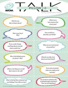 Bedtime is a wonderful time to bond with our children. iMOM's Pillow TALK 1.0 conversation starters create a sweet connection to end your day.