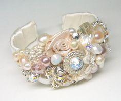 Bridal Cuff Bracelet Wedding Statement Bracelet by BrassBoheme on Etsy Bridal Cuff, Bridal Jewelry, Beaded Jewelry, Beaded Bracelets, Blush Bridal, Pearl Bridal, Pearl Necklaces, Bridal Hair, Armband Tattoo