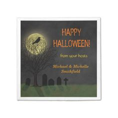 Shop Halloween Crow on Tree with Moon Party Paper Napkins created by FancyCelebration. Party Napkins, Cocktail Napkins, Halloween Party Supplies, Halloween Ideas, Moon Party, Ecru Color, Crow, Happy Halloween, Cocktails