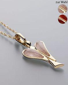 """Der """"Engel des Herzens"""": Sogni d'oro Rosaquarz-Anhänger mit Goldkette - Singapurkette und #Anhänger aus 375er Gelbgold mit #Rosaquarz  #sognidoro #sogni #doro #schmuck #edelstein #kette #necklace #jewelry #gemstone"""