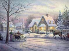 Memories of Christmas, by Thomas Kinkade. Includes image of woman and child about to enter old care, and a horse-drawn sleigh with quaint village in the background.