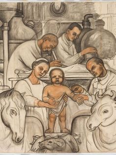 Diego Rivera and Frida Kahlo in Detroit Exhibition | Detroit Industry Mural drawing | The Detroit institute of Arts