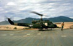 USMC UH-1E taking off  Chu Lai, 1965