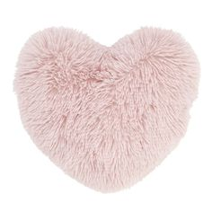 Catherine Lansfield Cuddly Deep Pile Shaggy Faux Fur Fleece 3D Heart Shaped Filled Cushion, Blush
