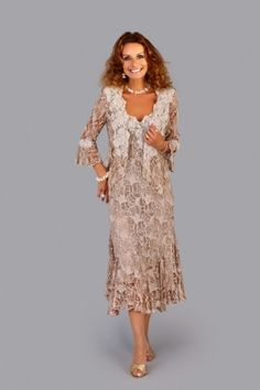 Ideal for the Mother of the Bride, embroidered Italian lace dress and jacket generously scattered with sequins.