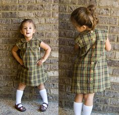 Plaid Dress (idea only) wonder if I could make this from an upcycled plaid shirt? Use shirt cuffs for sleeves?Great spin on a really great pattern (Oliver + S Puppet Show dress) julicrafts/sewing/ back Sewing For Kids, Baby Sewing, Little Girl Dresses, Girls Dresses, Dress Girl, Shirt Refashion, Diy Dress, Plaid Dress, Diy Clothes