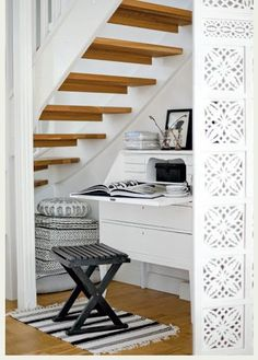 I want to take the carpet off the stairs and strip the wood down like this.