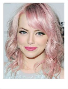 How to Get Lilac Hair for This Season? - New Hair Styles 2018 Cabelo Emma Stone, Emma Stone Hair, Pale Pink Hair, Hair Pale Skin, Pastel Pink, Hair Colour For Green Eyes, New Hair Colors, Messy Curly Hair, Curly Hair Styles
