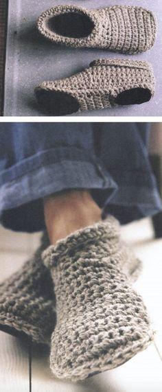 Crochet Slipper Boots, Crochet Slipper Pattern, Crochet Slippers, Booties Crochet, Men's Slippers, Knit Or Crochet, Crochet Crafts, Crochet Projects, Crochet Tutorials