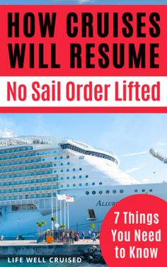 In good news for cruising, the no sail order is lifted paving the way for a restart to cruising in US waters. However, cruising won't start right away and there are more regulations and changes to come. Here are 7 things you need to know. #cruise #cruisetips #cruises Cruise Packing Tips, Cruise Travel, Cruise Vacation, Disney Cruise, Cruise Excursions, Cruise Destinations, Cruise Port, Cruise Ship Reviews, Best Cruise Ships