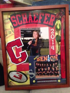 Senior Gift for banquet... Shadow box w/senior night mini bat and rose w/name off jersey