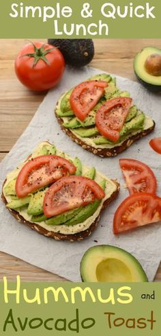 Lately I've been diggin' this vegan Hummus and Avocado Toast as a super simple lunch/snack. It's made with my healthy, homemade, lemon-garlic hummus and topped with fresh, ripe avocado. It's quick, easy and can be ready in under 10 minutes. Lunch Snacks, Vegan Snacks, Lunch Recipes, Whole Food Recipes, Vegetarian Recipes, Cooking Recipes, Diet Recipes, Vegetarian Lunch, Vegan Lunches