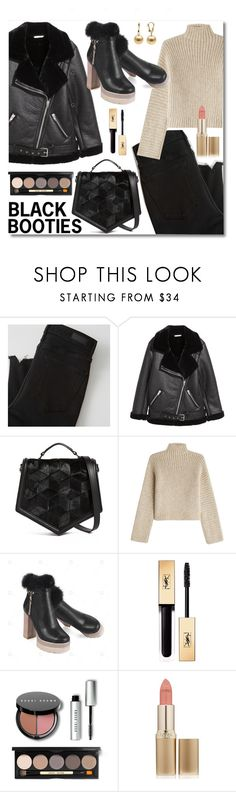 """Street Style: Black Booties"" by crissg4 ❤ liked on Polyvore featuring Abercrombie & Fitch, Welden, Rosetta Getty, Yves Saint Laurent, Bobbi Brown Cosmetics and L'Oréal Paris"