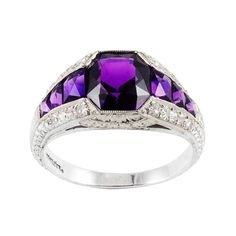 Edwardian Amethyst and Diamond Ring Edwardian amethyst and diamond ring, mounted in platinum. Amethyst And Diamond Ring, Amethyst Jewelry, Diamond Rings, Purple Amethyst, Bridesmaid Jewelry, Bridal Jewelry, Purple Love, Purple Stuff, Purple Things
