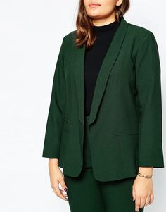 Image 3 of ASOS CURVE Blazer In Crepe With Slim Lapel