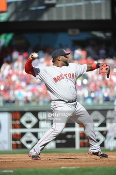 Pablo Sandoval of the Boston Red Sox throws the baseball during the Opening  Day game against 192433b1fe13