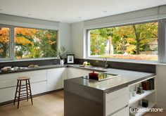 Contemporary Kitchen with Original Concrete Countertops