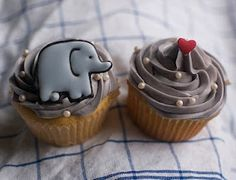 Baby Elephant Cupcakes... Make royal icing transfers in advance- Oh, and that is fresh blueberry buttercream frosting!