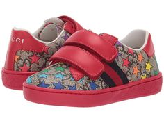 0a13087ae Gucci Kids GG Supreme Double Strap Sneaker (Toddler) Kid's Shoes Red Multi