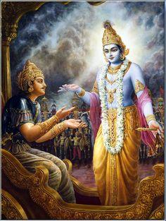 Krishna instruindo Arjuna antes da batalha
