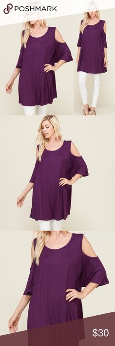 NWT Plus Size Purple tunic cold Shoulder Top This cold Shoulder plus size tunic is perfect for spring or summer with flat sandals or cute wedges!  This tunic has a hi-lo cut and open shoulder sleeves.  A summer wardrobe must have, perfect for pairing with a long necklace or statement jewelry.  Order now, ships out same day, we ship to all of the continental United States! We are family owned, based in Maryland, USA. Tops Blouses