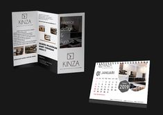 Design Corporate Identity Of Kinza Interior Corporate Identity, Identity Design, Calendar Design, Name Cards, Behance, Business Cards, Branding, Visual Identity, Brand Identity Design