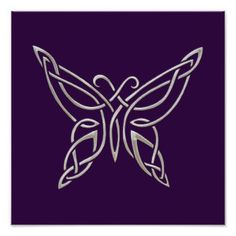 celtic knot butterfly | Silver Purple Celtic Butterfly Curling Knots Print