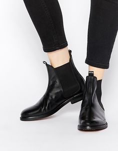H+by+Hudson+Sophie+Black+Leather+Chelsea+Ankle+Boots
